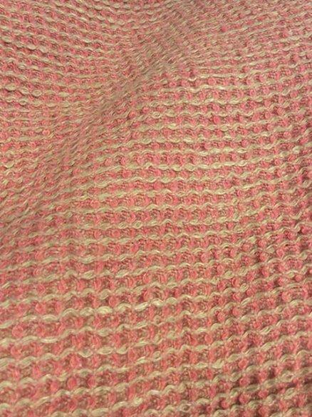 Serviette de bain en nid d'abeille Rose Chiné 100x155 cm