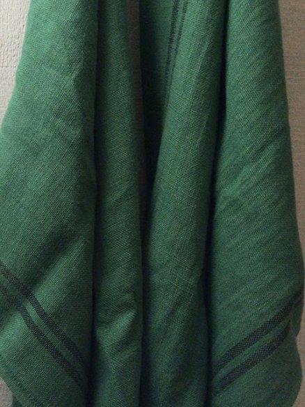 Torchon Lin Vert à rayures noires