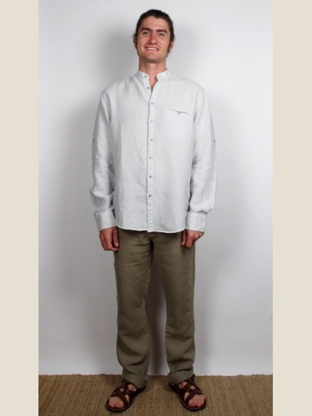 Chemise Col Mao Manches Longues blanche