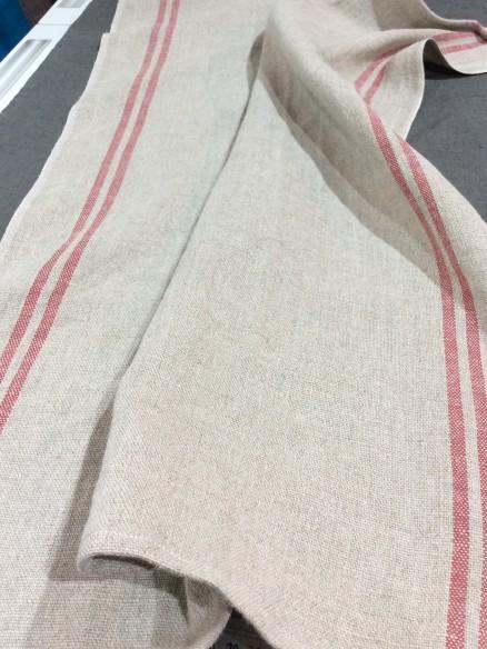Lin pour Torchon Naturel à rayures rouges