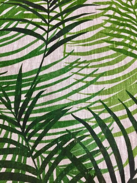Lin imprimé feuillage vert