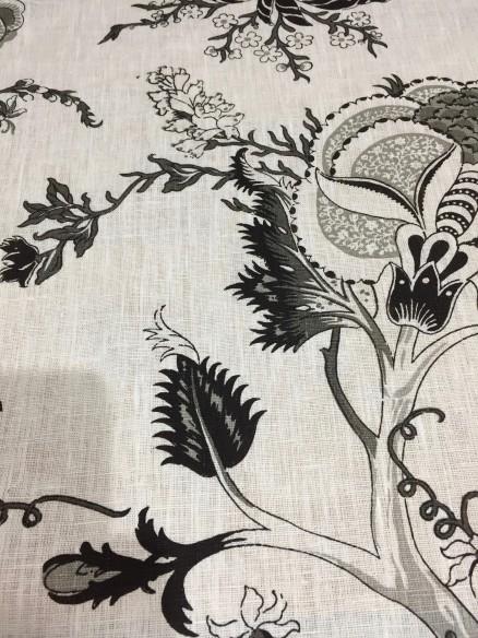 Lin imprimé darjeeling noir et blanc