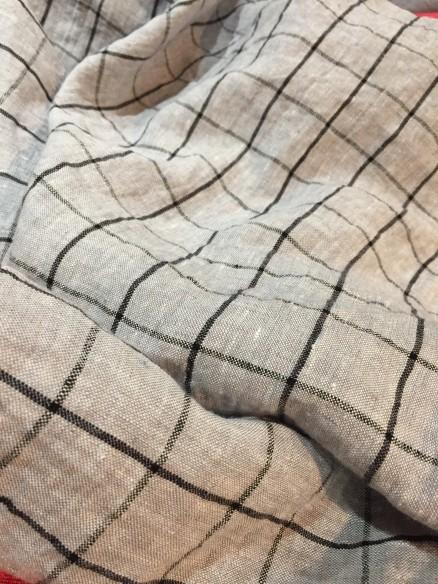 Lin Lavé Fin Grande largeur écossais gris