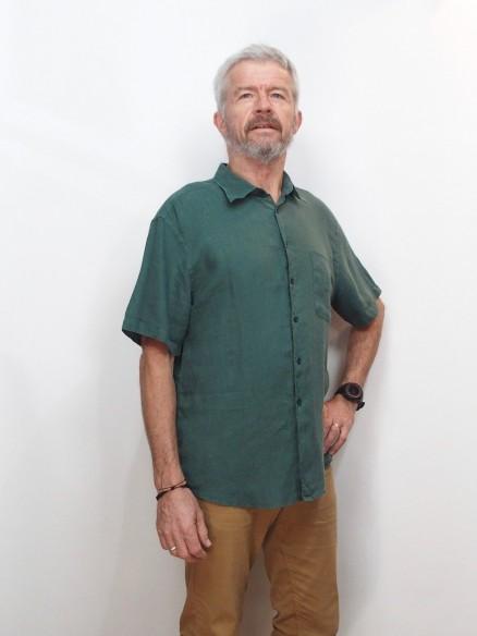Chemise en lin Homme - Col classique - Manches courtes