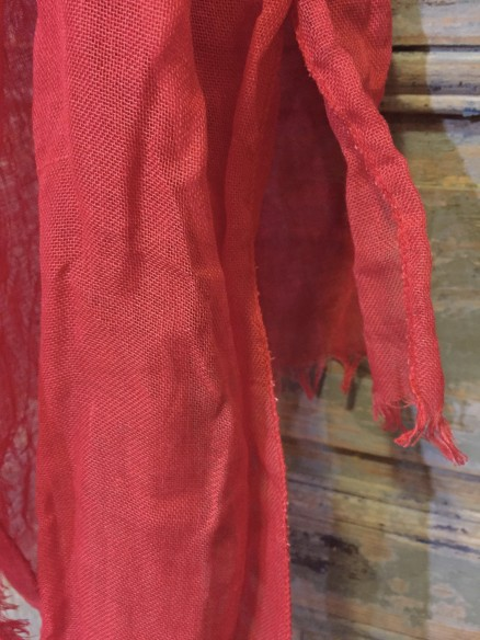 Etole gaze de lin rouge