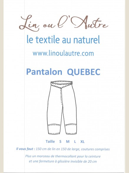 Patron Pantalon Québec