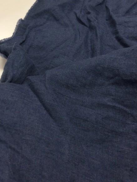 taie d'oreiller en lin lavé bleu délavé
