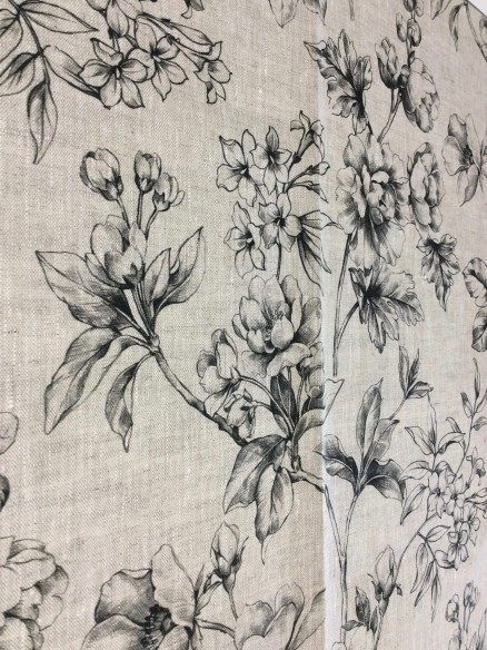 Lin imprimé Fleur du Japon Bleu